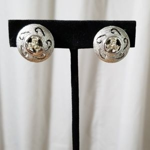 Silver Toned and Rhinestone Clip On Earrings